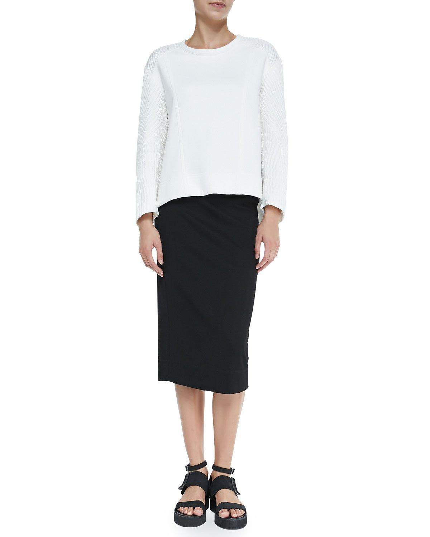 helmut lang echo jacquard textile sleeve sweatshirt