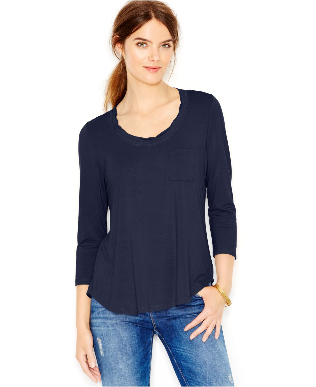 Maison jules long sleeve scoop neck t shirt in blue lyst for Scoop neck long sleeve shirt