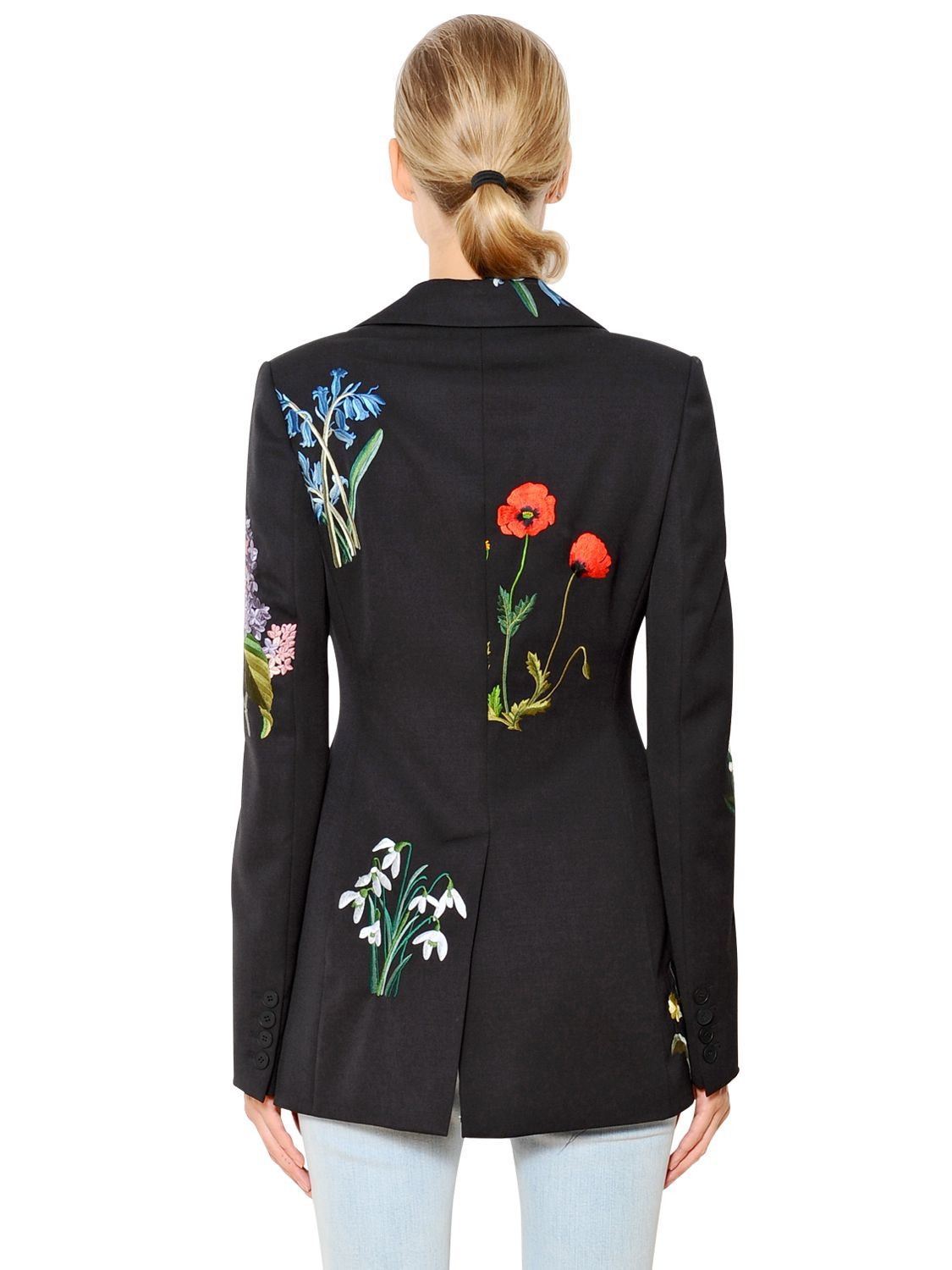 Stella mccartney floral embroidered wool tuxedo jacket in