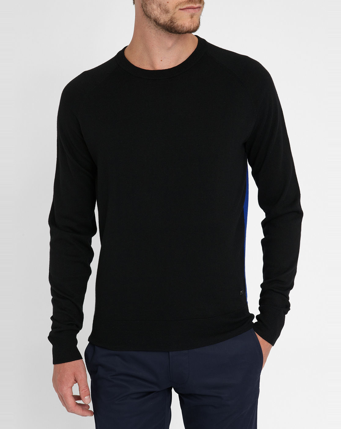 marc by marc jacobs black blue two tone round neck sweater in black for men lyst. Black Bedroom Furniture Sets. Home Design Ideas
