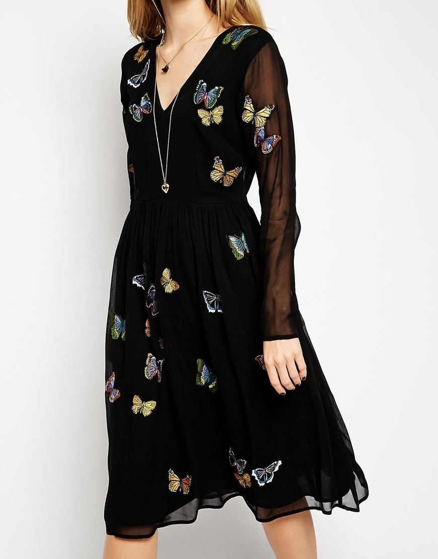 Asos Midi Skater Dress With Butterfly Embroidery In Black