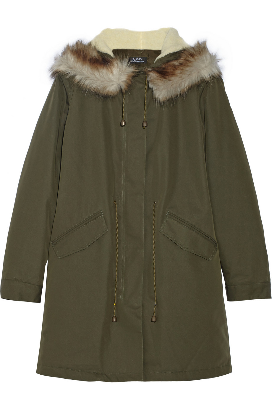 A.p.c. Mod Faux Fur-trimmed Cotton-blend Twill Parka in Green | Lyst