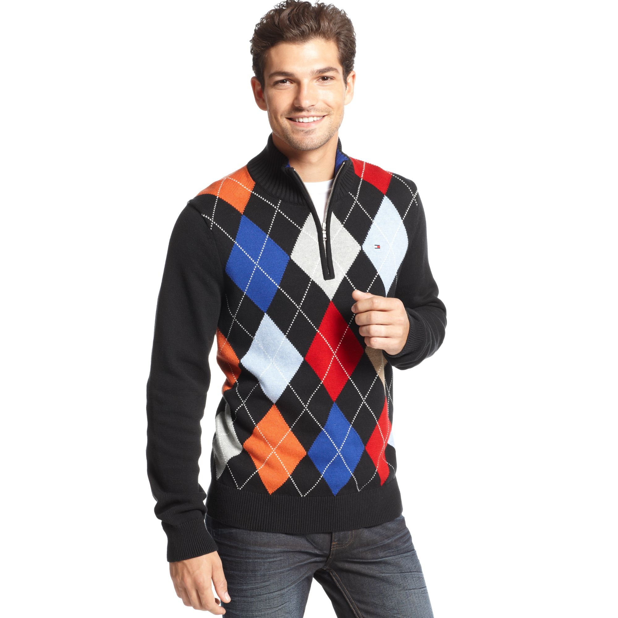 Tommy hilfiger Baltic Argyle Half Zip Sweater in Black for Men | Lyst