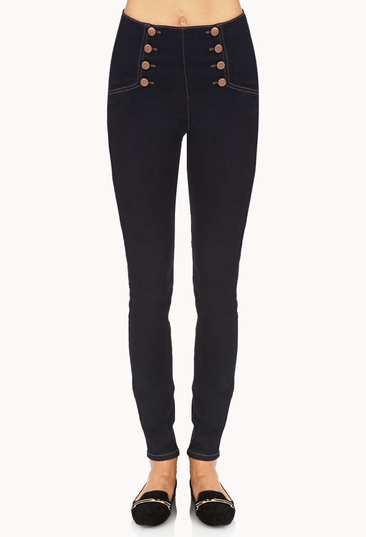 Gallery. Women's High Waisted Jeans ... - Forever 21 High-waisted Matelot Skinny Jeans In Blue Lyst