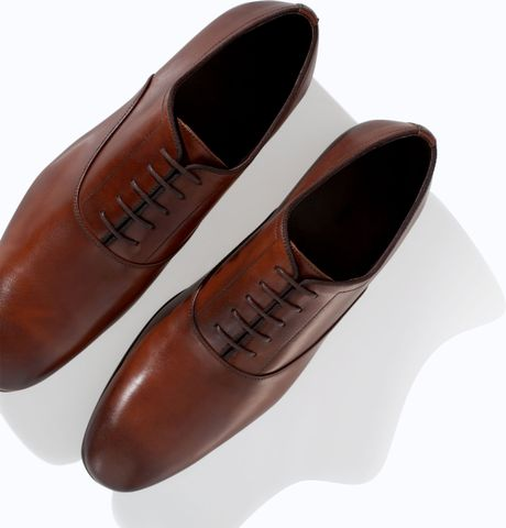 Brown Sports Shoes Zara Oxford Shoe in Brown
