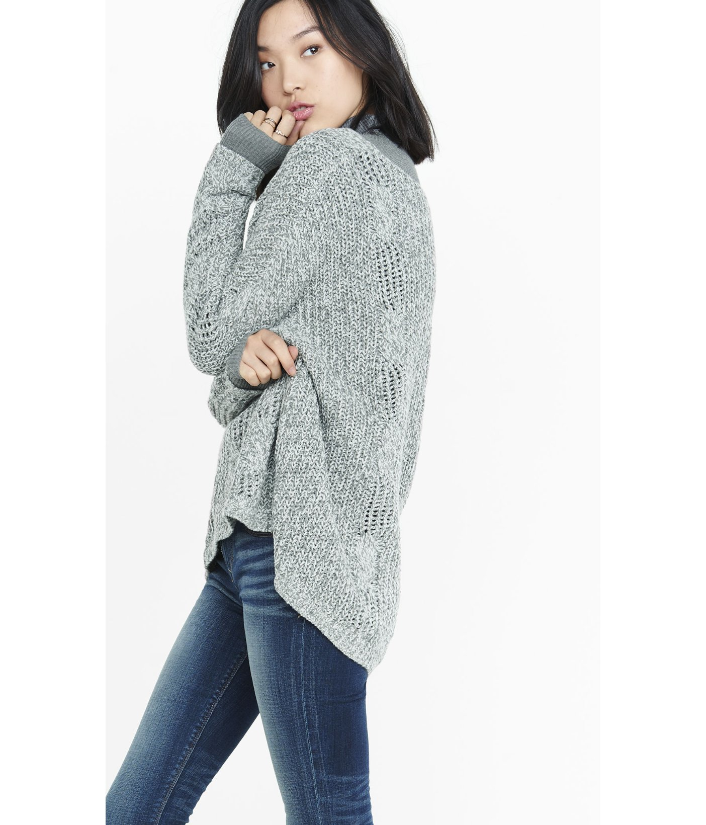 Express One Eleven Oversize Cable Knit Sweater in Green | Lyst