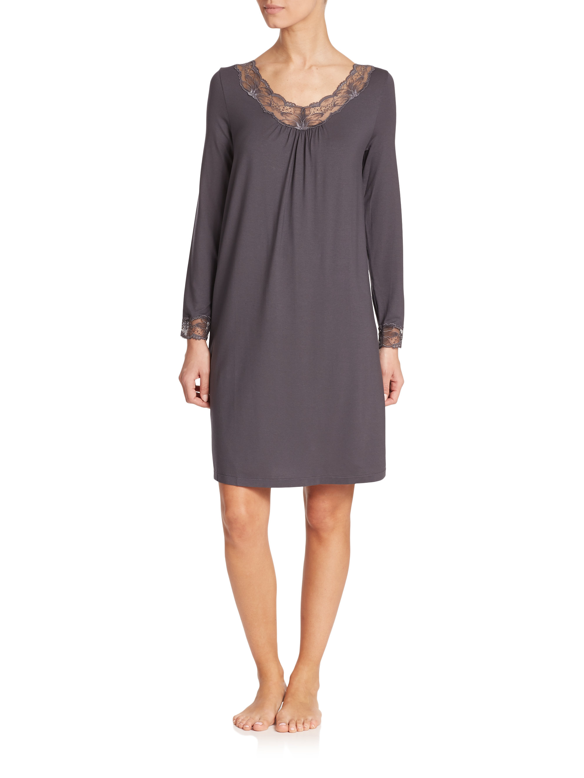 Lyst - Hanro Valencia Long-sleeve Lace-trimmed Jersey Nightgown in Gray 370b153aa