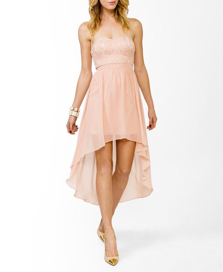 Forever 21 High Low Sweetheart Dress In Natural Lyst