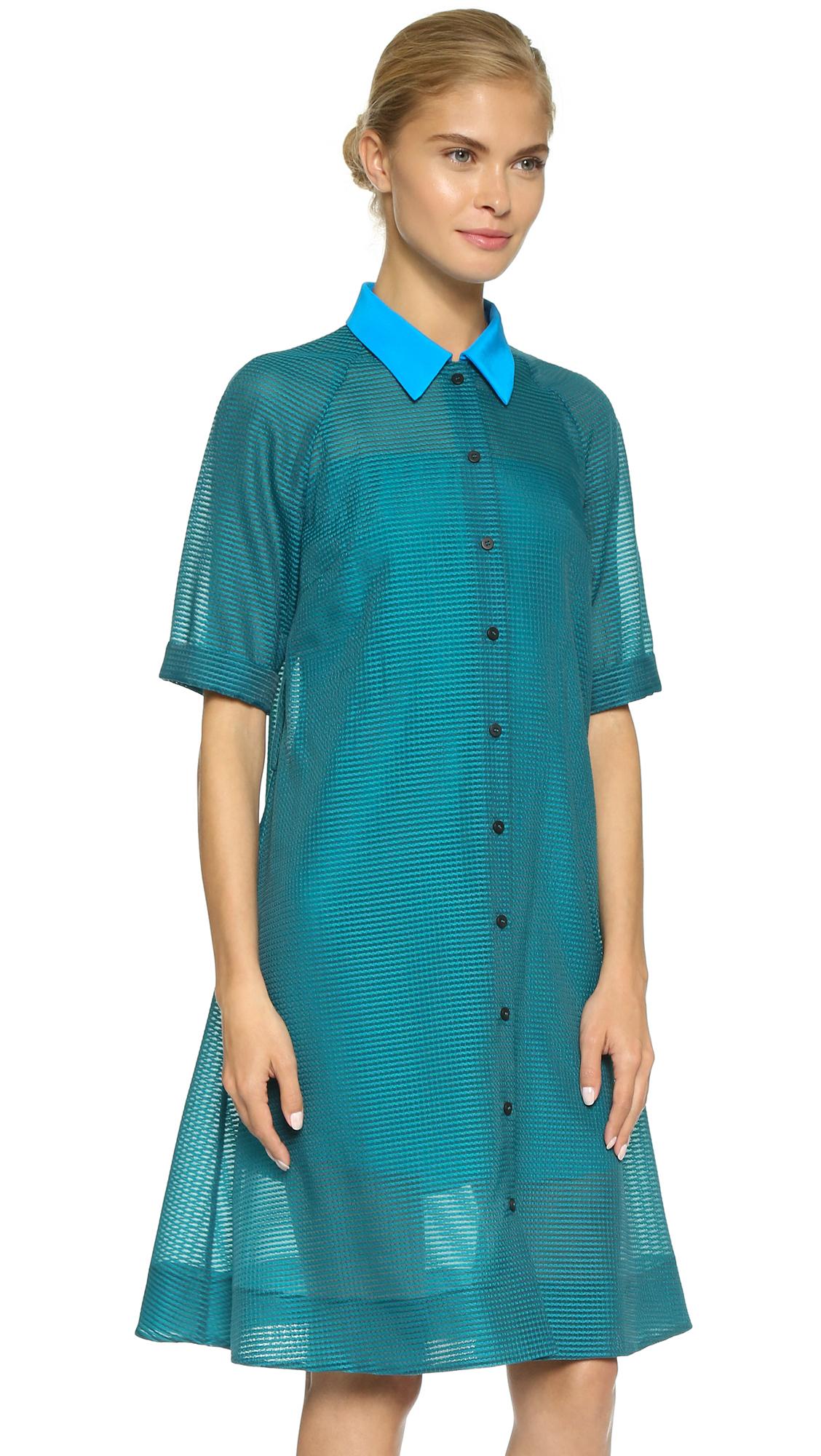 Victoria Victoria Beckham A Line Shirt Dress Lush Green