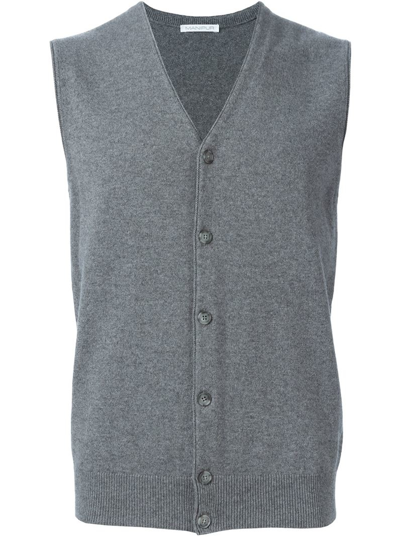 Manipuri Knitted Button Down Vest in Gray for Men | Lyst