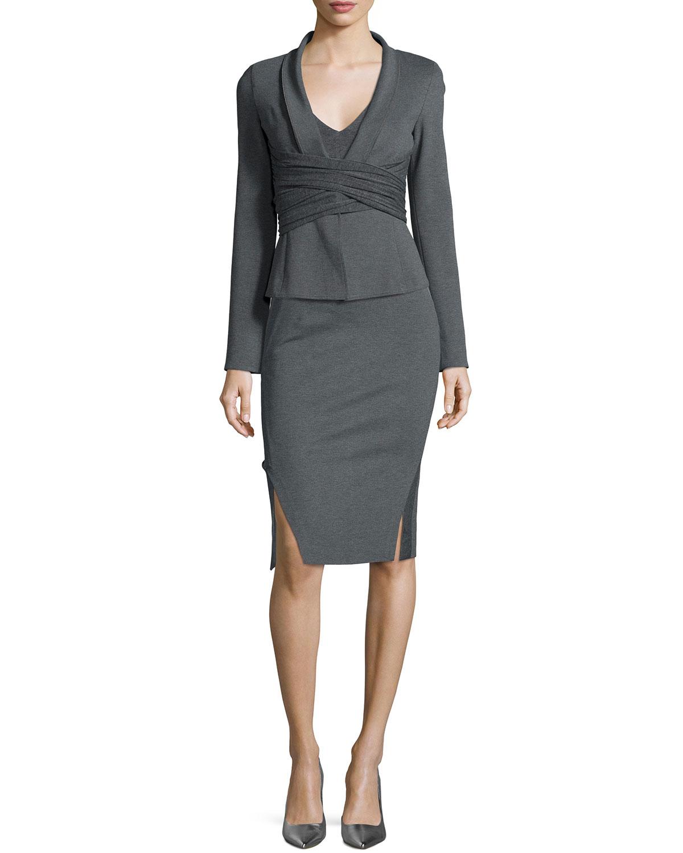 Donna karan new york draped crisscross knit jacket in gray for Donna karan new york