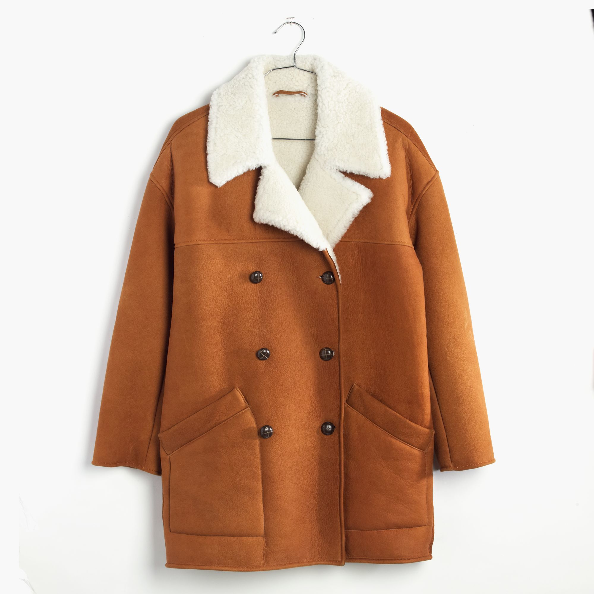 Madewell Shearling Car Coat in Brown | Lyst
