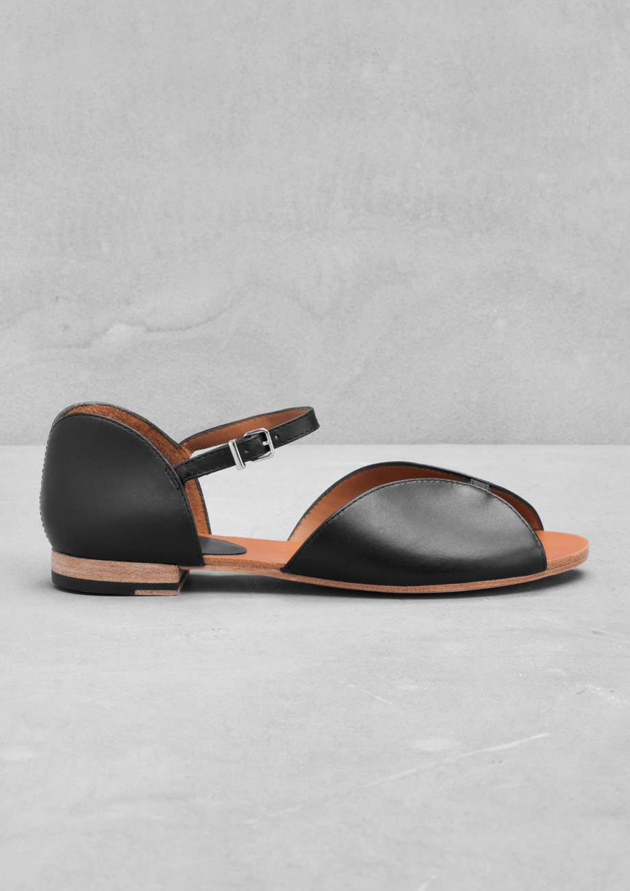 & OTHER STORIES Diagonal Strap Leather Sandals