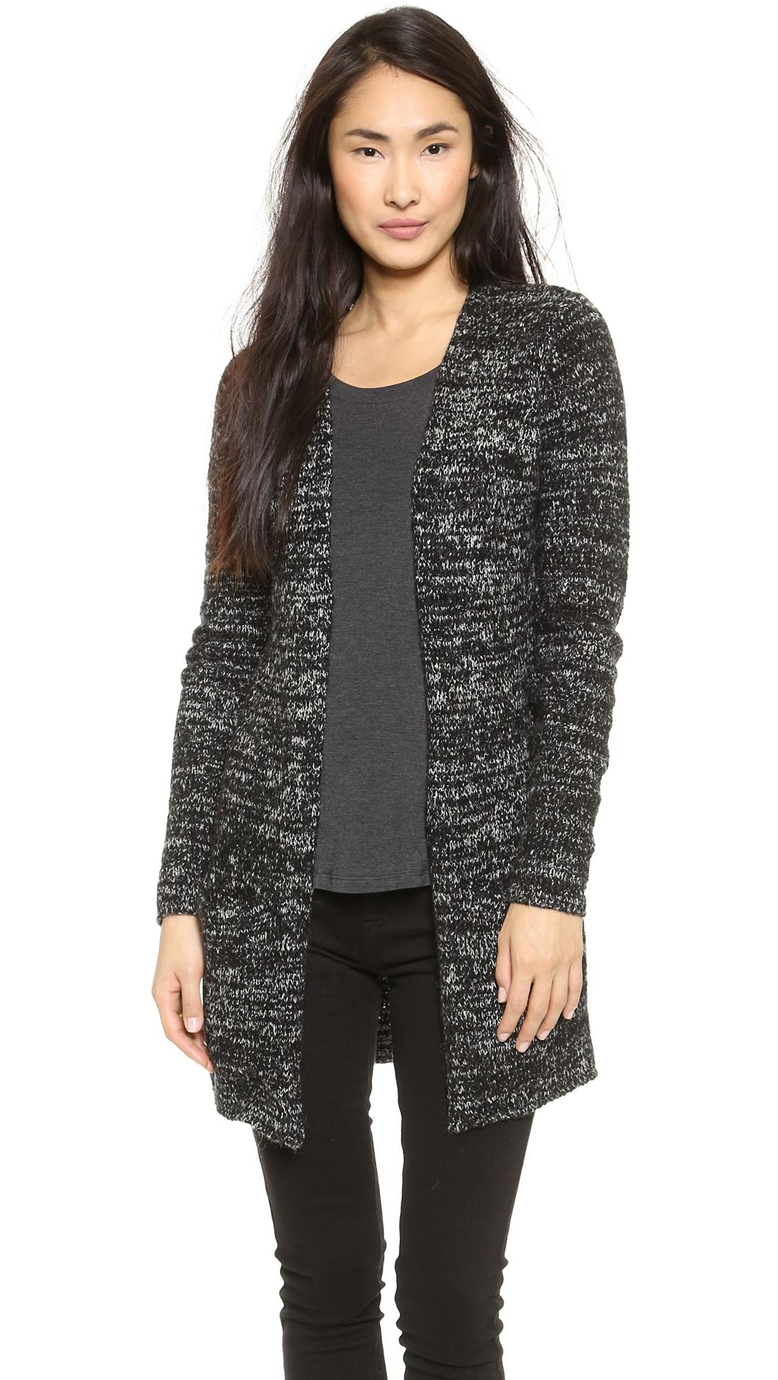 Enza costa Boucle Sweater Coat - Black Nebula in Black | Lyst