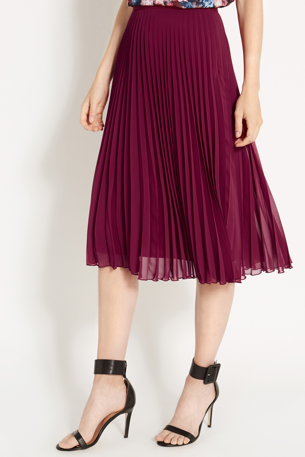Image result for pleated chiffon midi skirt