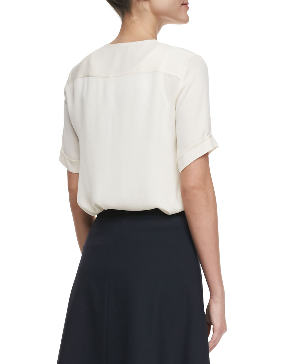 Theory Napala Shortsleeve Silk Blouse in White | Lyst