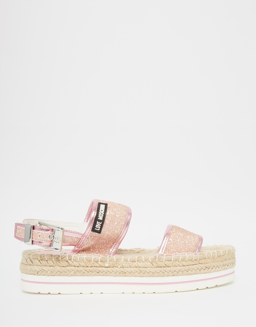 b12e7667b Love Moschino Glitter Espadrille Sandals in Pink - Lyst
