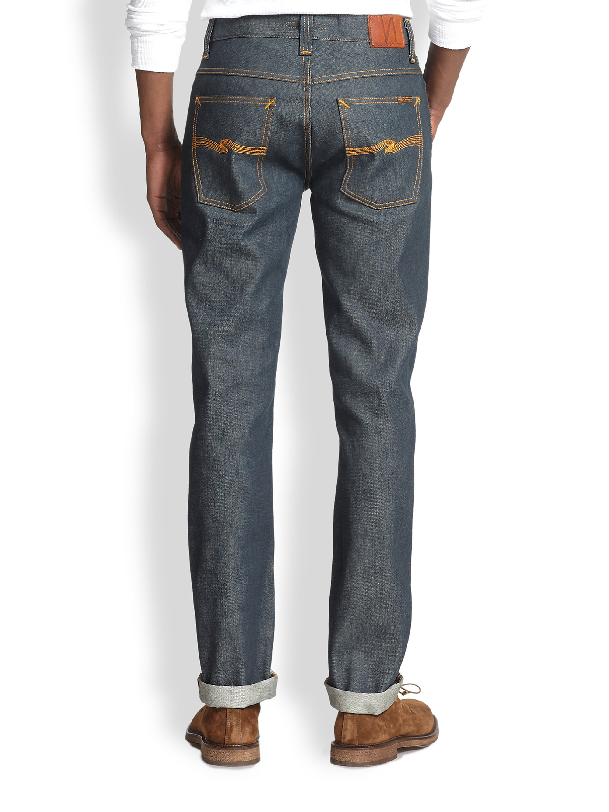 nudie jeans grim tim straightslim jeans in blue for men lyst. Black Bedroom Furniture Sets. Home Design Ideas