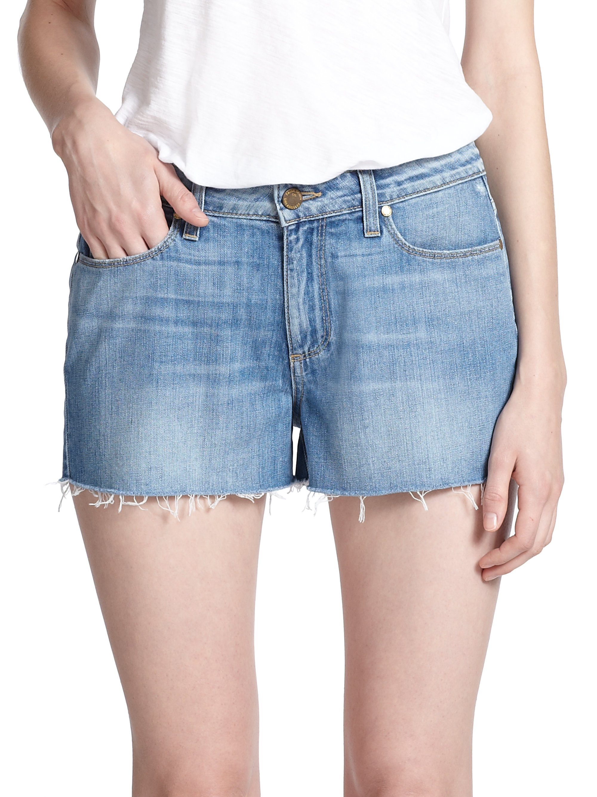 Paige Callie High-rise Cut-off Denim Shorts in Blue | Lyst
