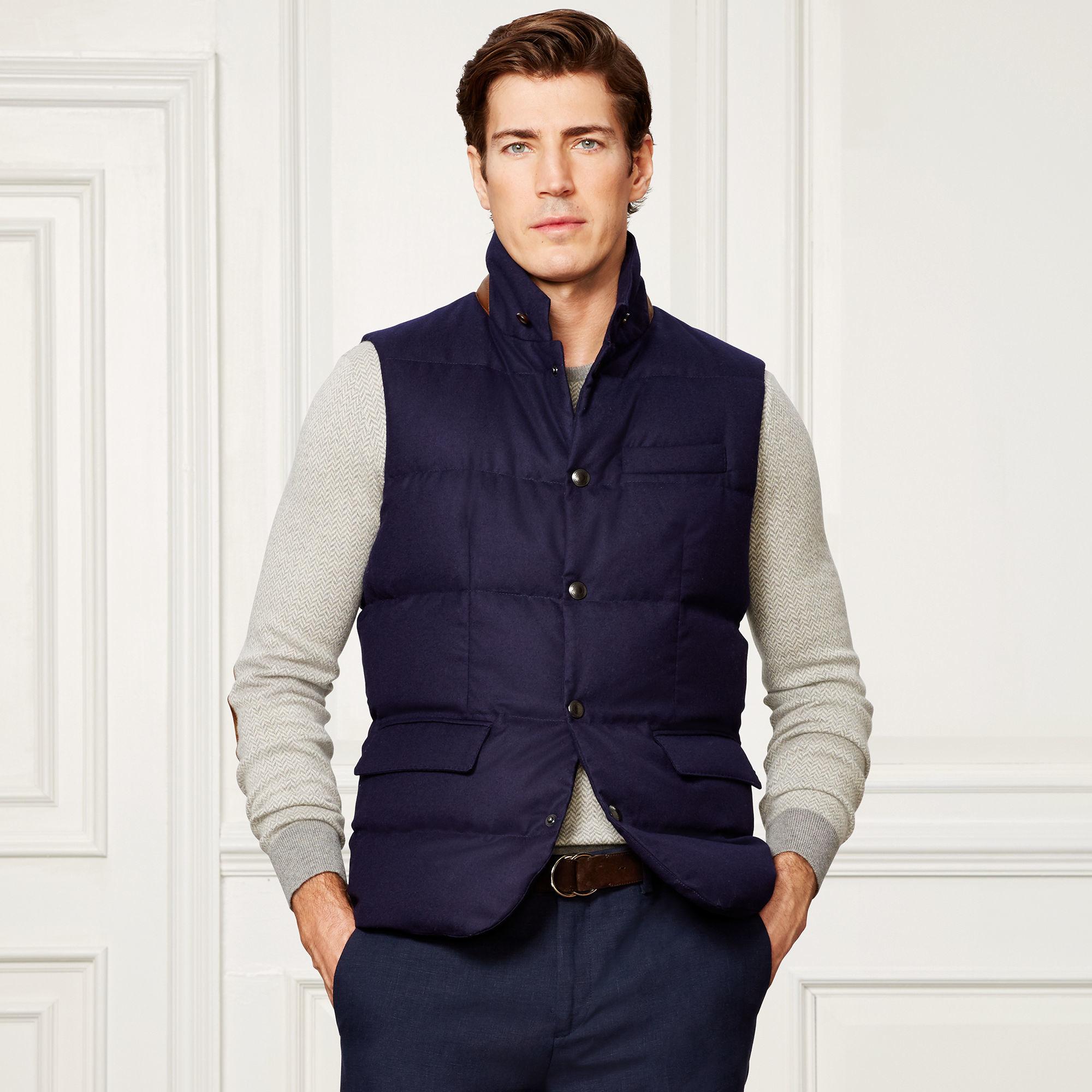 Ralph Lauren Purple Label Quilted Wool Down Vest In Blue