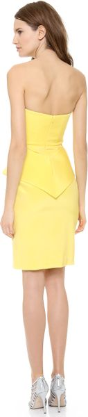 Notte By Marchesa Strapless Crepe Cocktail Dress in Yellow (Lemon) - Lyst