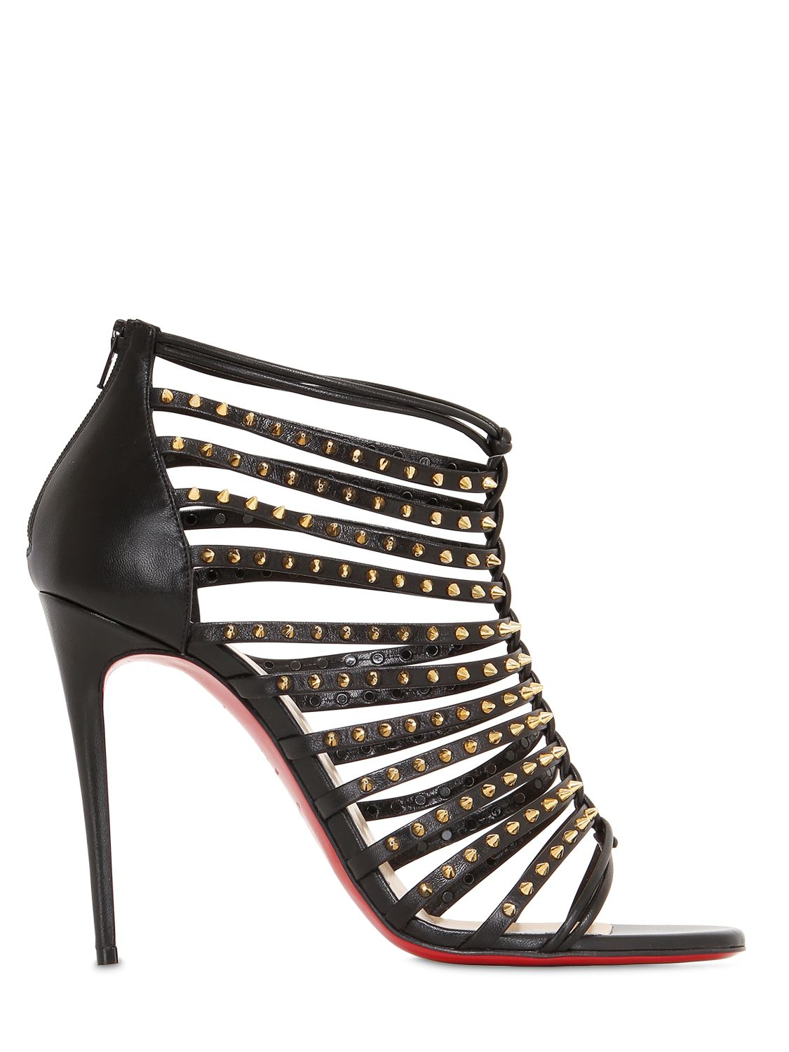 louboutin shoes - Christian louboutin Millaclou Studded Leather Cage Sandals in ...