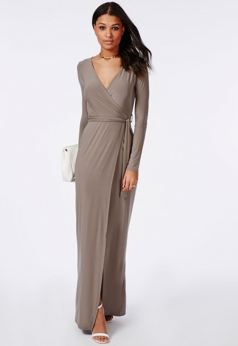 Lyst - Missguided Slinky Wrap Front Maxi Dress Taupe in Brown