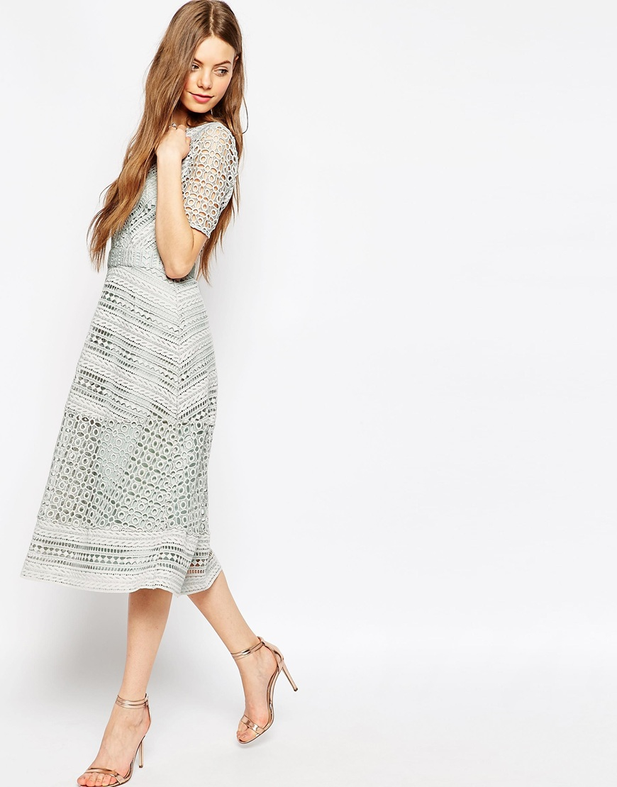 0990a984ce ASOS Premium Occasion Lace Midi Dress in Gray - Lyst