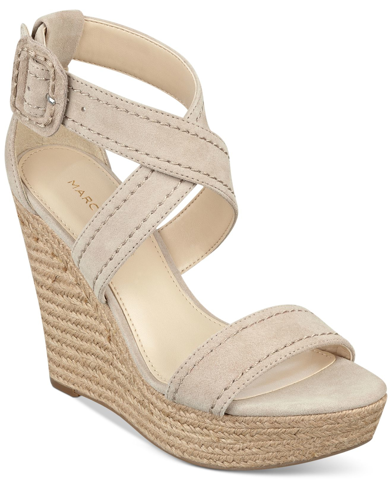 5beffed59c70 Lyst - Marc Fisher Haely Platform Wedge Sandals in Natural