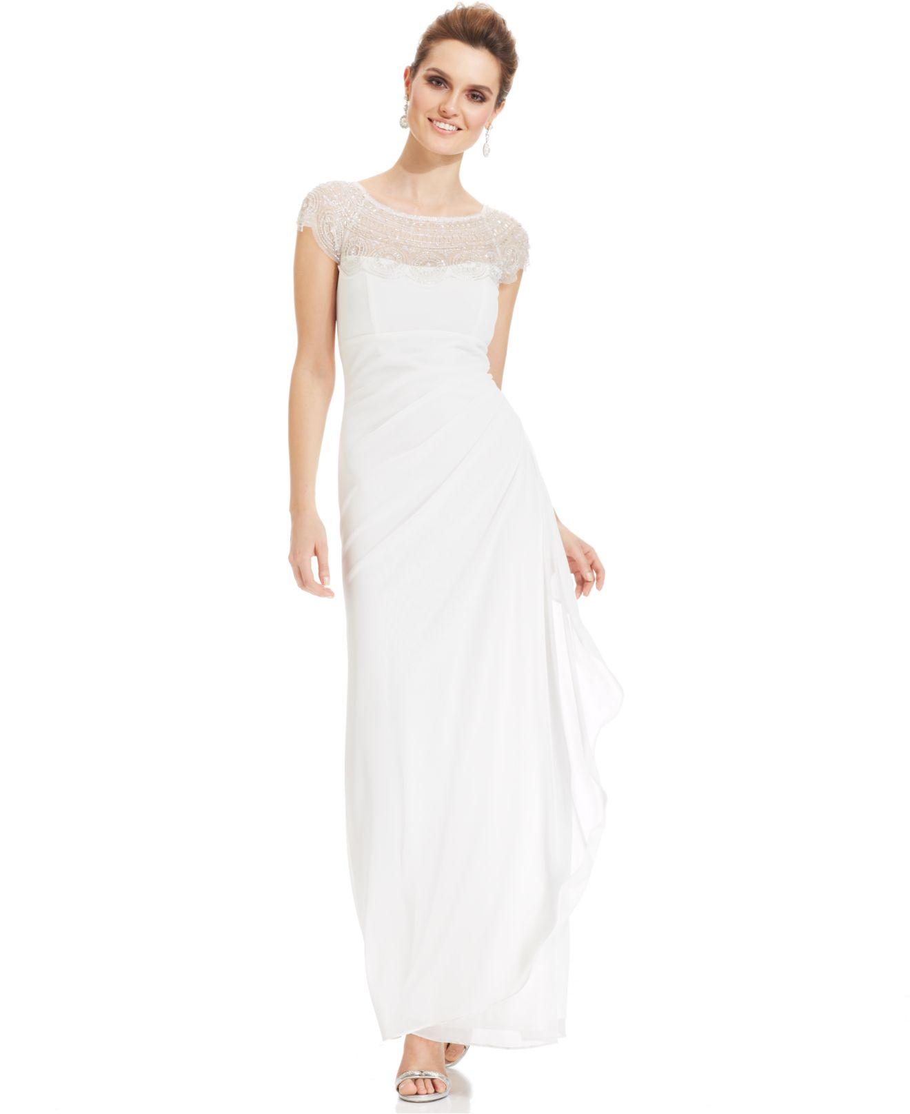 Lyst - Xscape Cap-Sleeve Illusion Beaded Gown in White