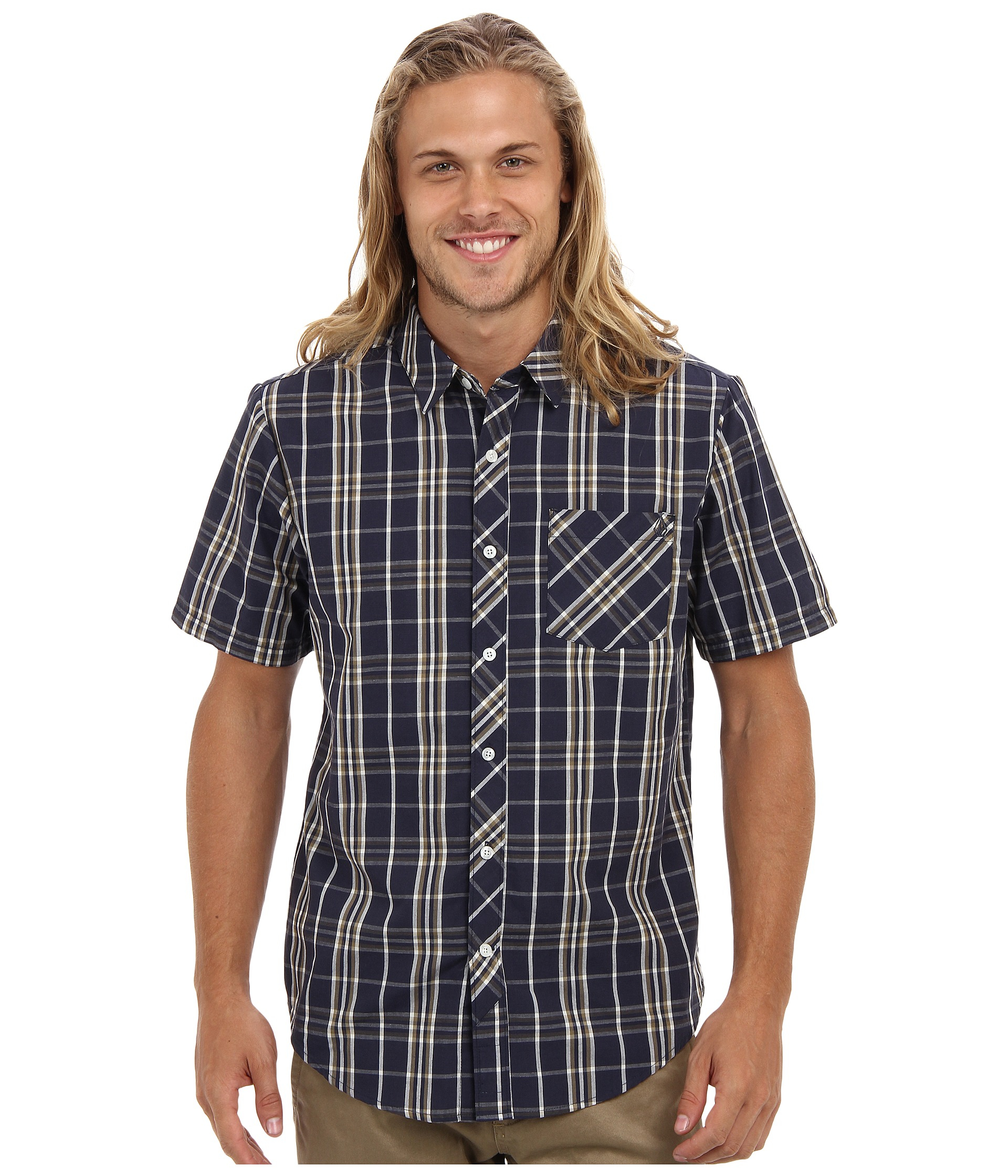 Volcom blue weirdoh plaid short sleeve shirt for men lyst Short sleeve plaid shirts