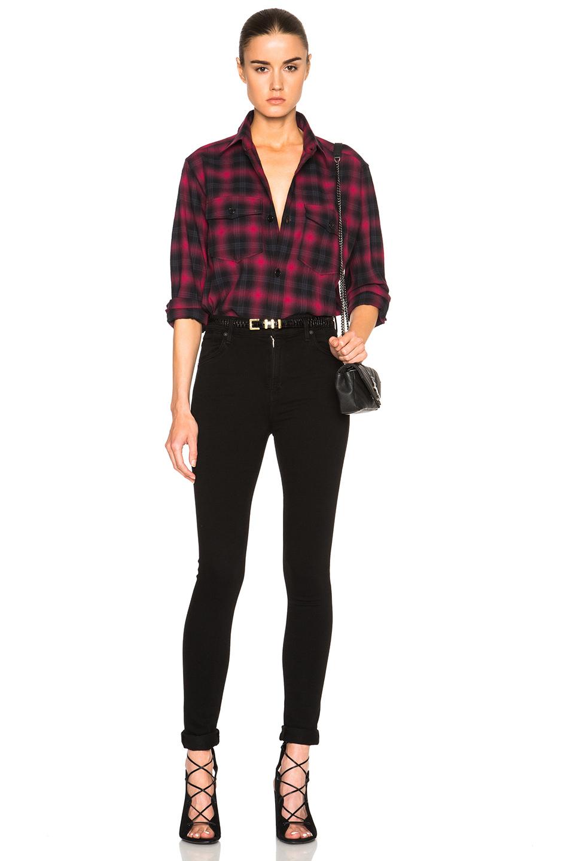 Saint laurent plaid tartan oversize shirt in black lyst for Saint laurent shirt womens