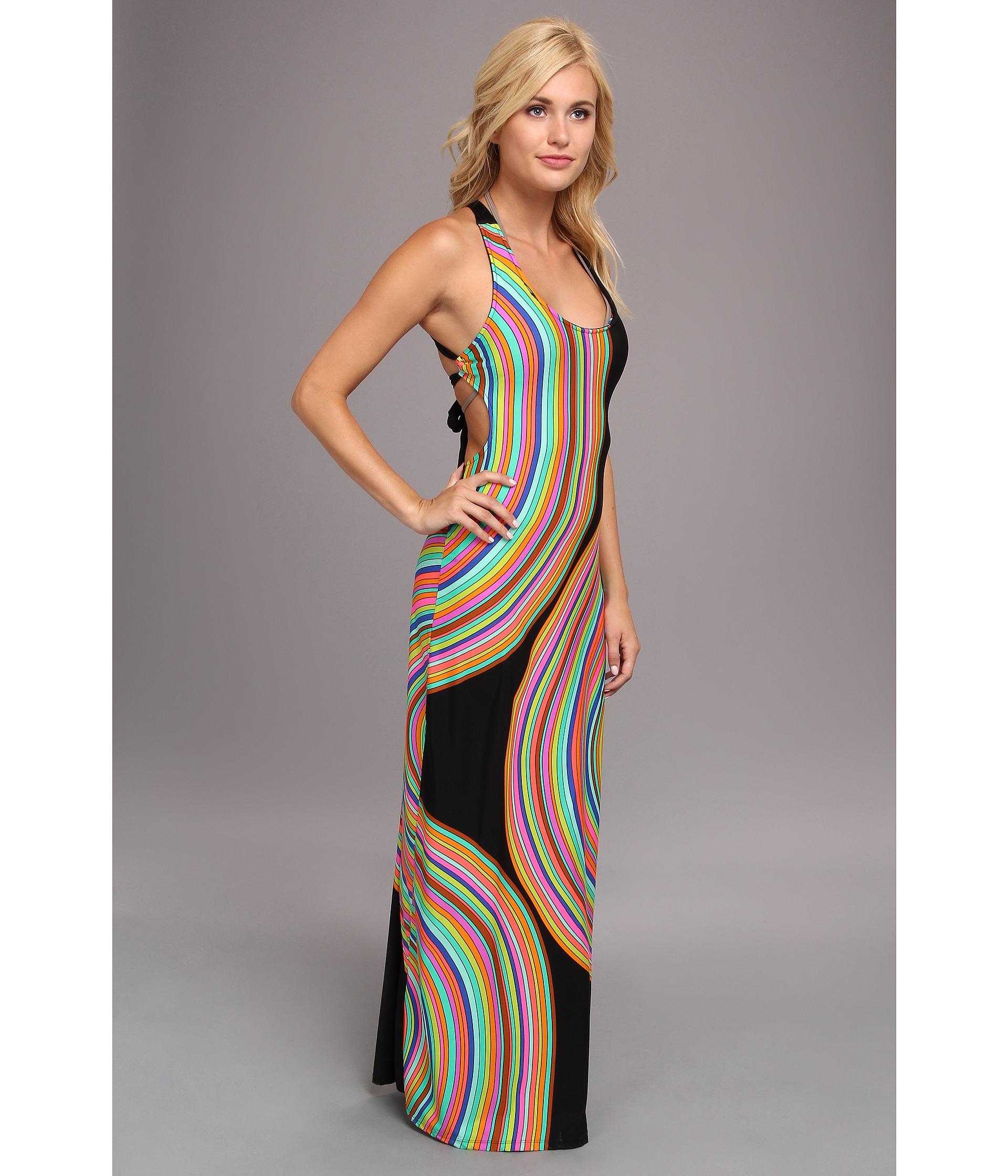 $154 Trina Turk Sombrero Cross Back Long Maxi Jersey Cover Up Dress