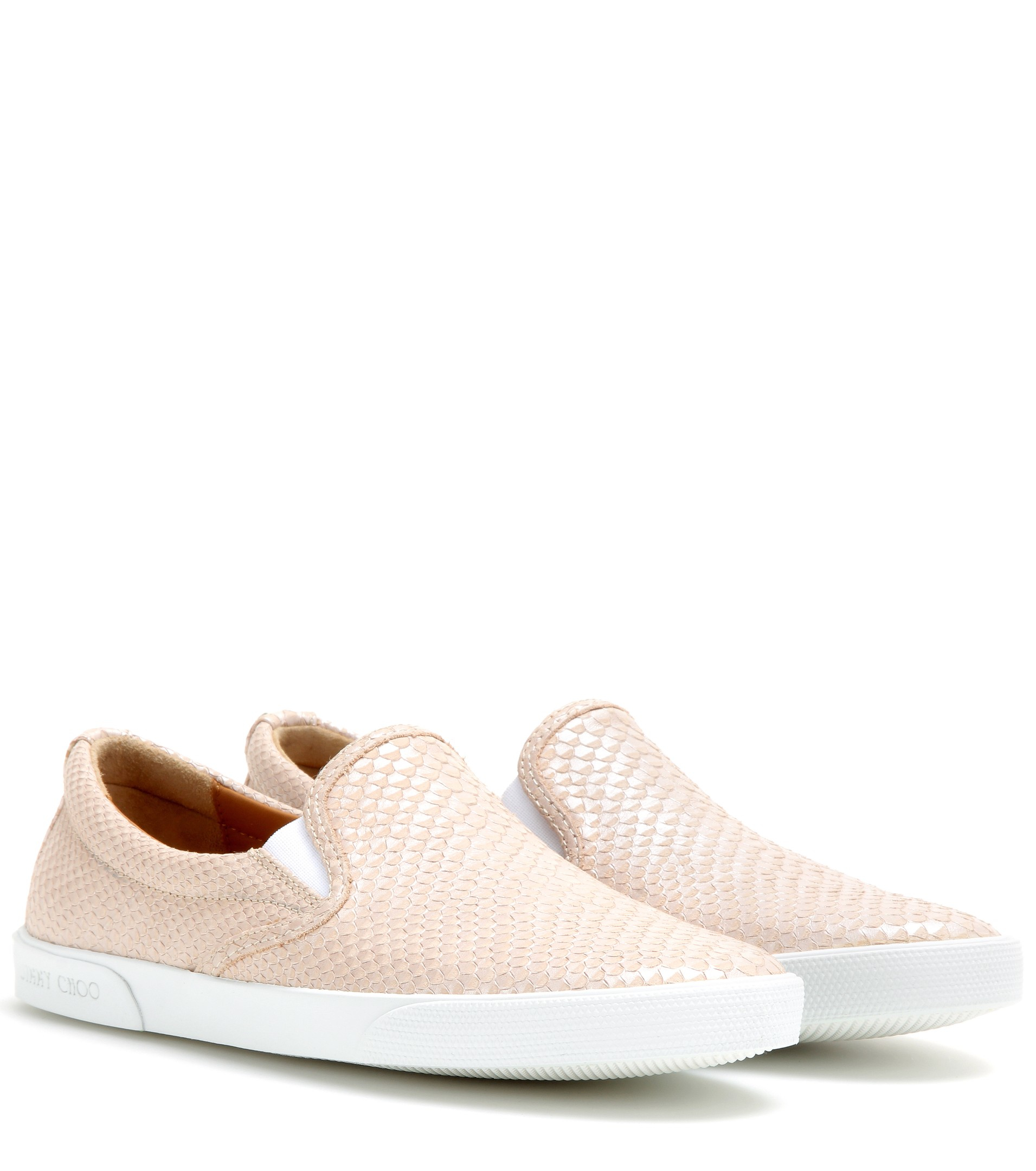 d55caf4cac04 ... shopping lyst jimmy choo demi embossed leather slip on sneakers in  natural a98f7 f2b96