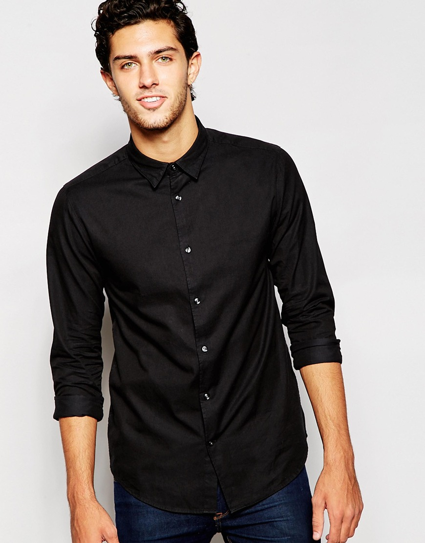 ASOS DESIGN stretch slim cord shirt in black. £ MIX & MATCH. Dickies cord long sleeve shirt in brown. £ boohooMAN muscle fit jersey shirt with grandad collar in khaki. £ ASOS DESIGN stretch slim snakeskin printed shirt in grey. £
