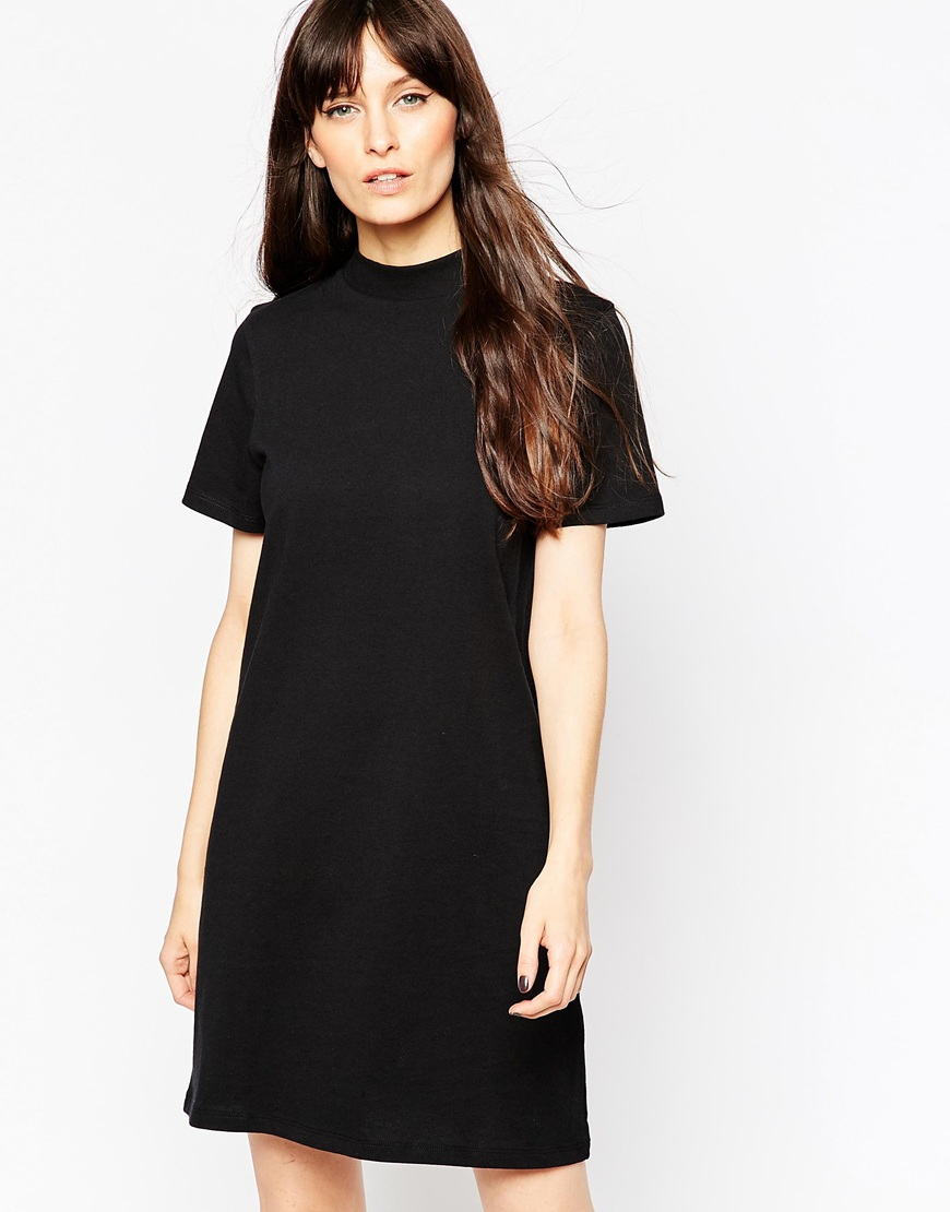 dffc4e1a0d8c3 ASOS T-shirt Dress With High Neck in Black - Lyst