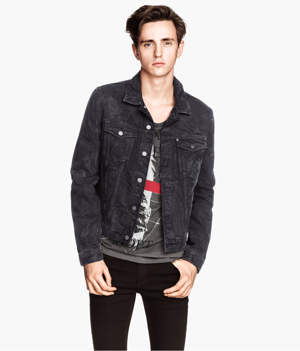 H M Denim Jacket In Black For Men Lyst