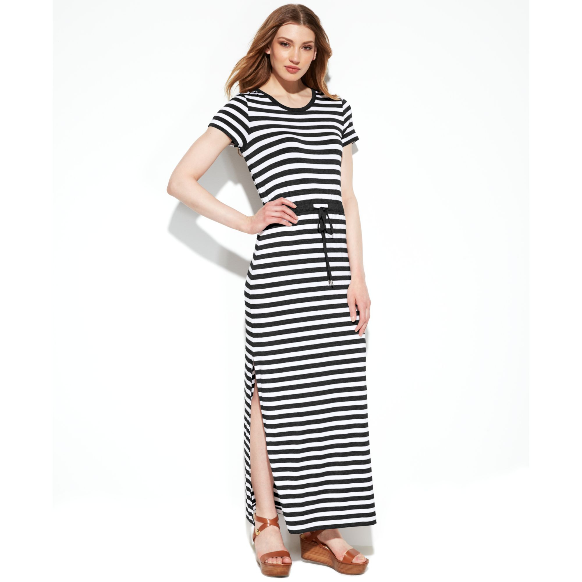 Lyst Michael Kors Michael Shortsleeve Striped Maxi Dress
