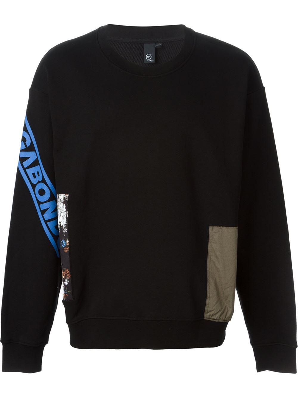 mcq alexander mcqueen patchwork sweatshirt in black for men lyst. Black Bedroom Furniture Sets. Home Design Ideas