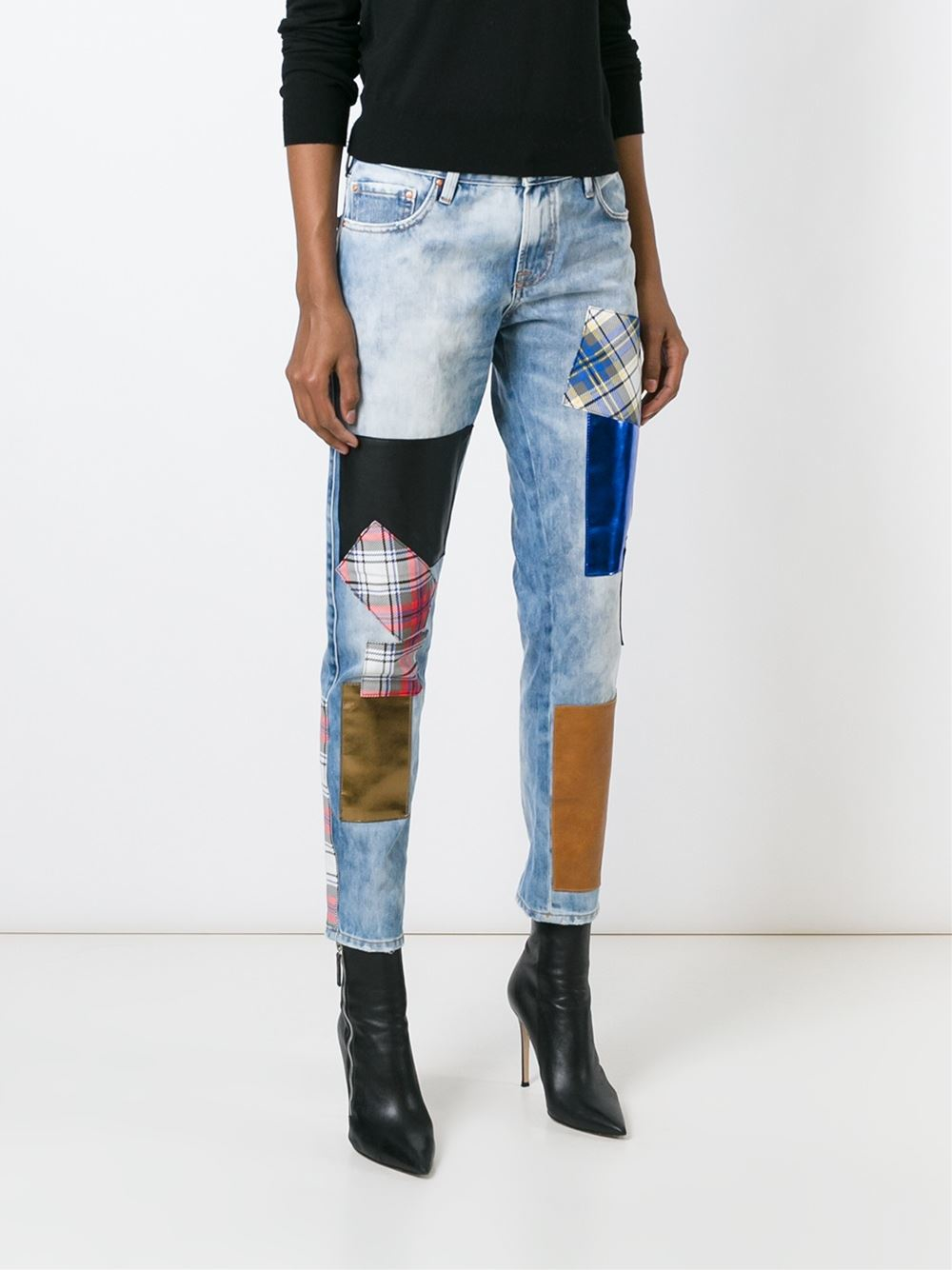 Don't Cry Denim Patched Boyfriend Jeans in Blue