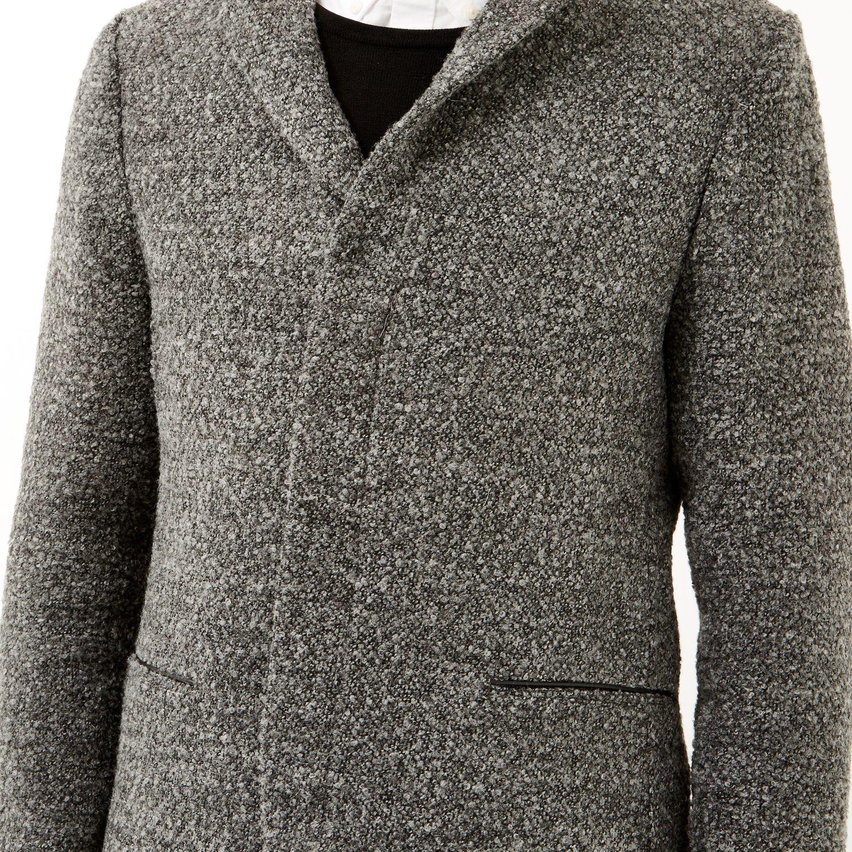 River Island Grey Boiled Wool Jacket in Grey for Men