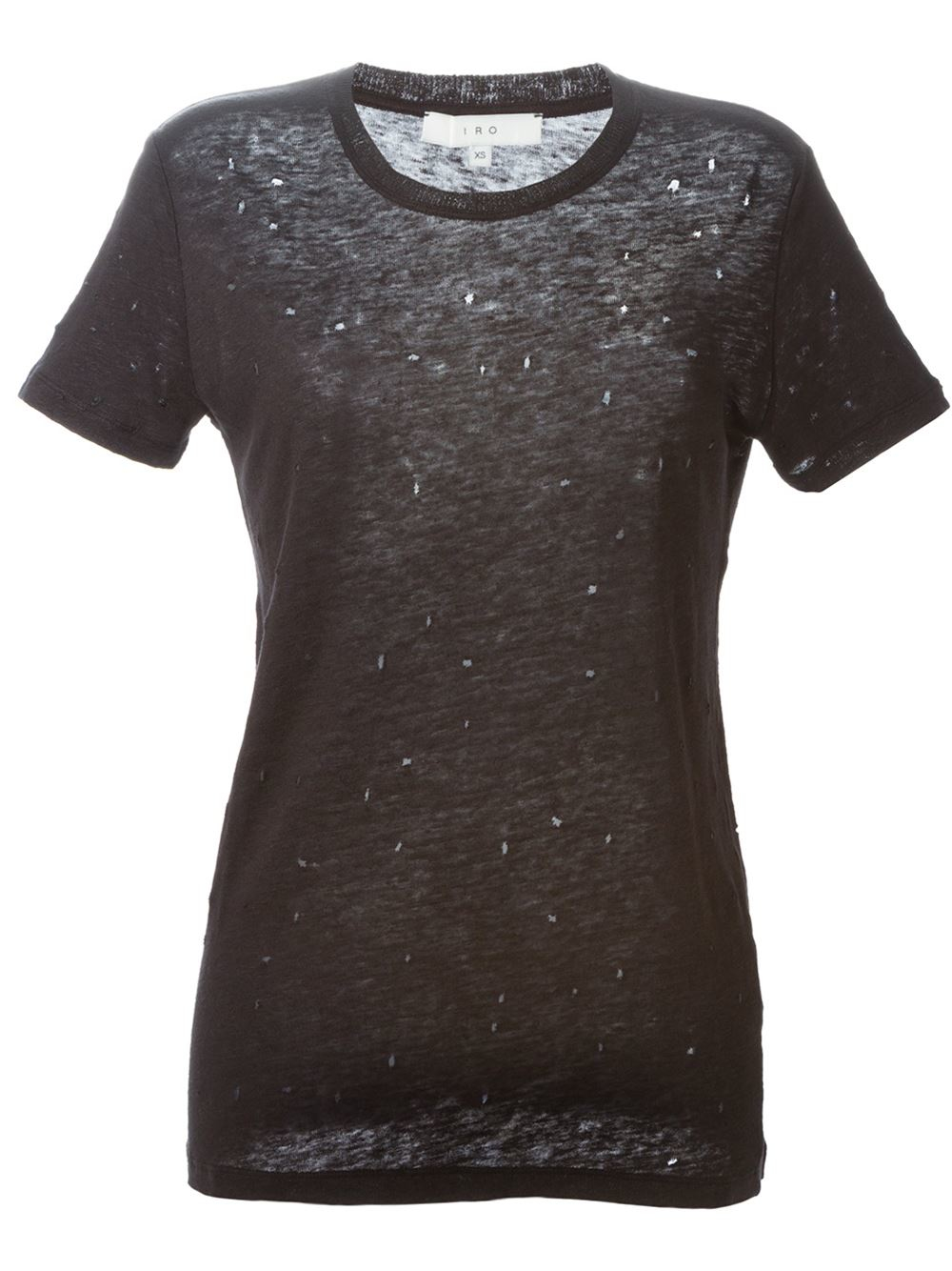 Iro distressed t shirt in black lyst for How to make a distressed shirt