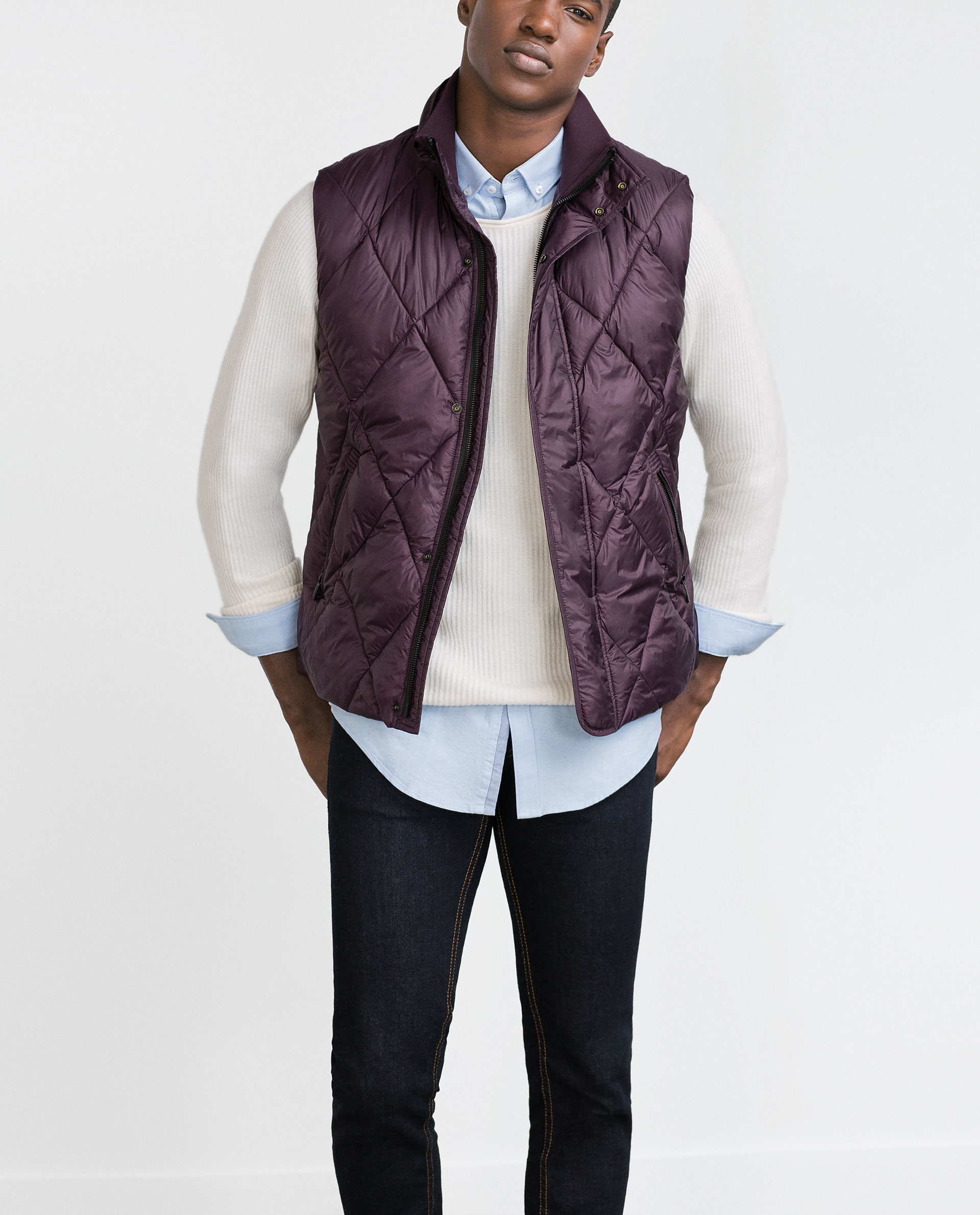 Zara Purple Quilted Waistcoat For Men Lyst