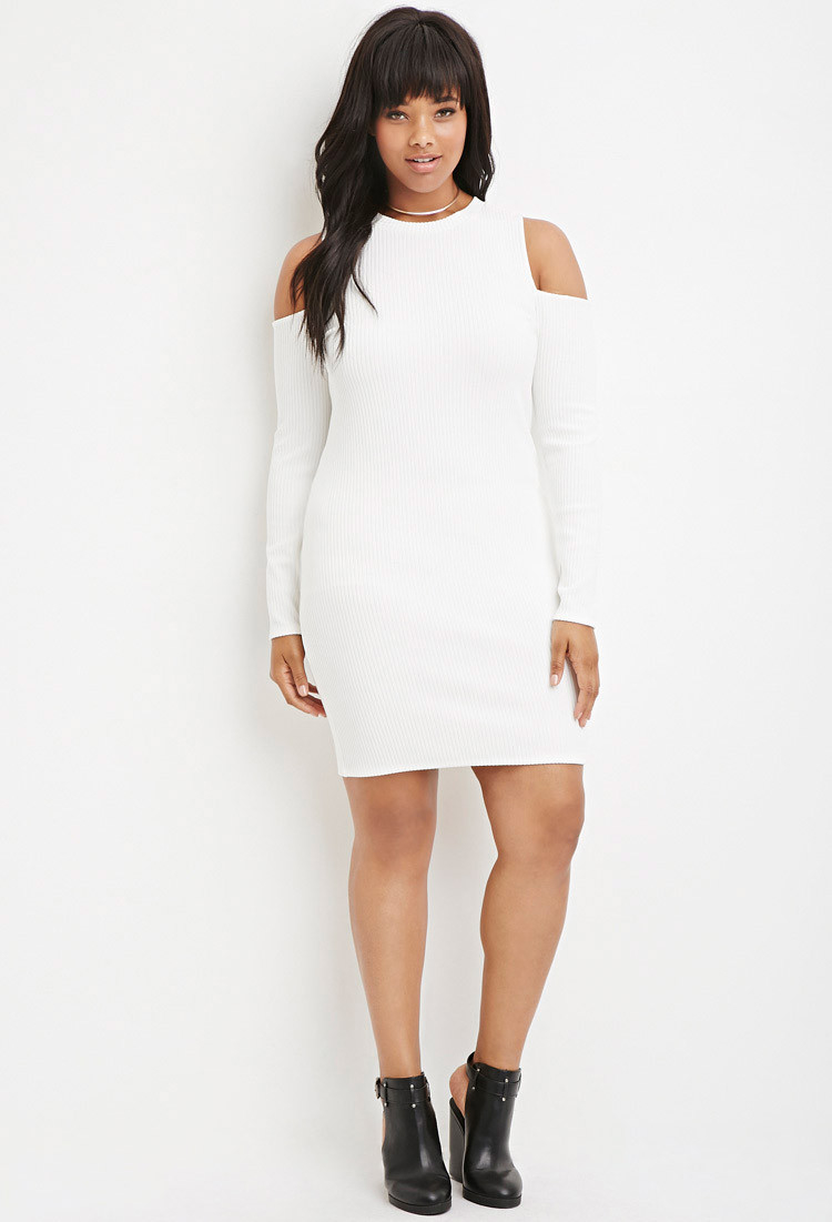 0c7acf9222e Forever 21 Plus Size Open-shoulder Ribbed Sweater Dress in Natural ...