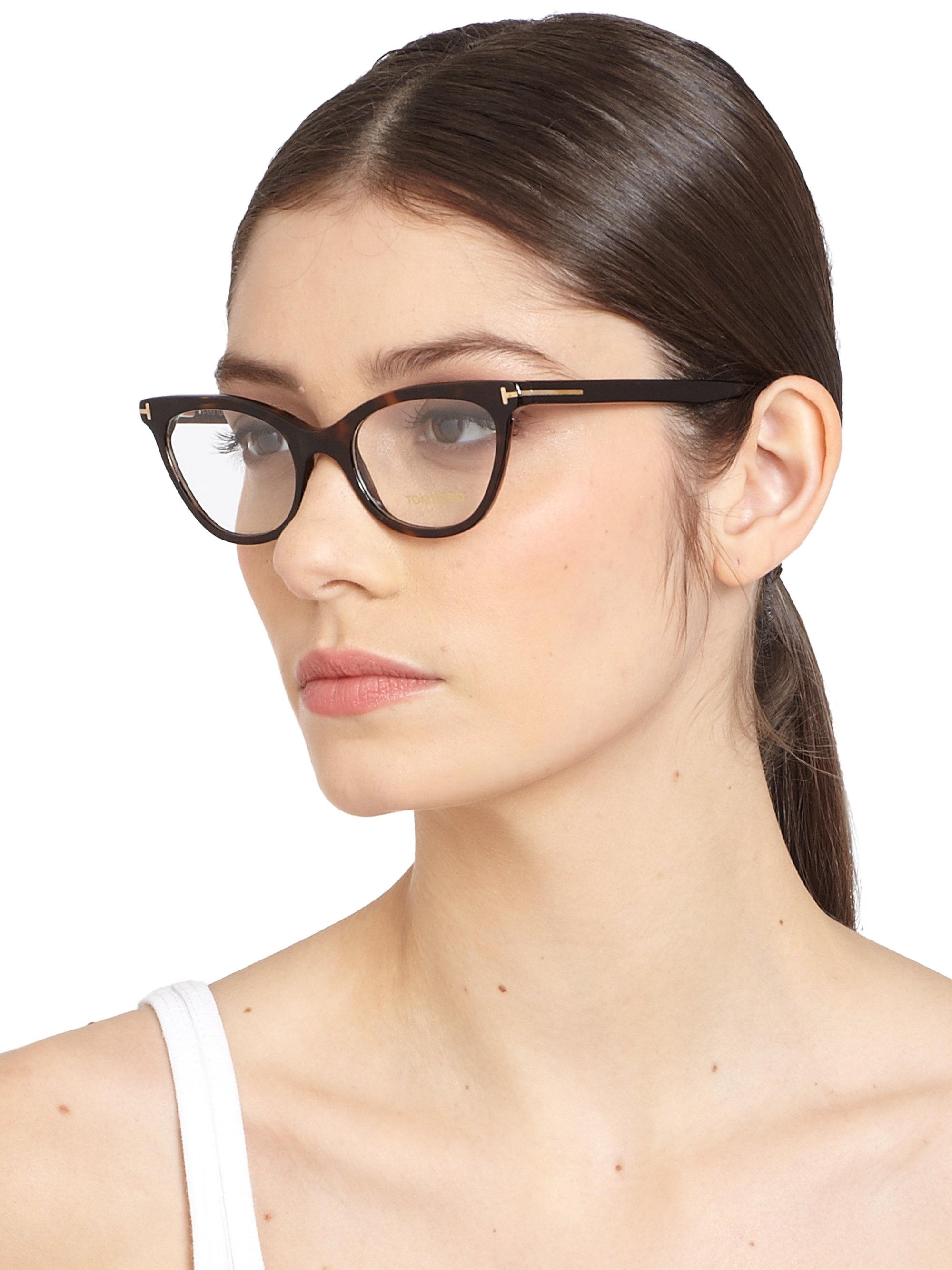 Tom Ford Cat S Eye Optical Glasses In Black Havana Lyst