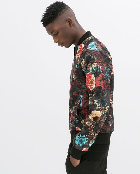 Zara Flower Bomber Jacket In Floral For Men Black Lyst