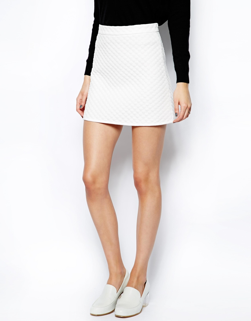 asos a line skirt in textured spot in white lyst