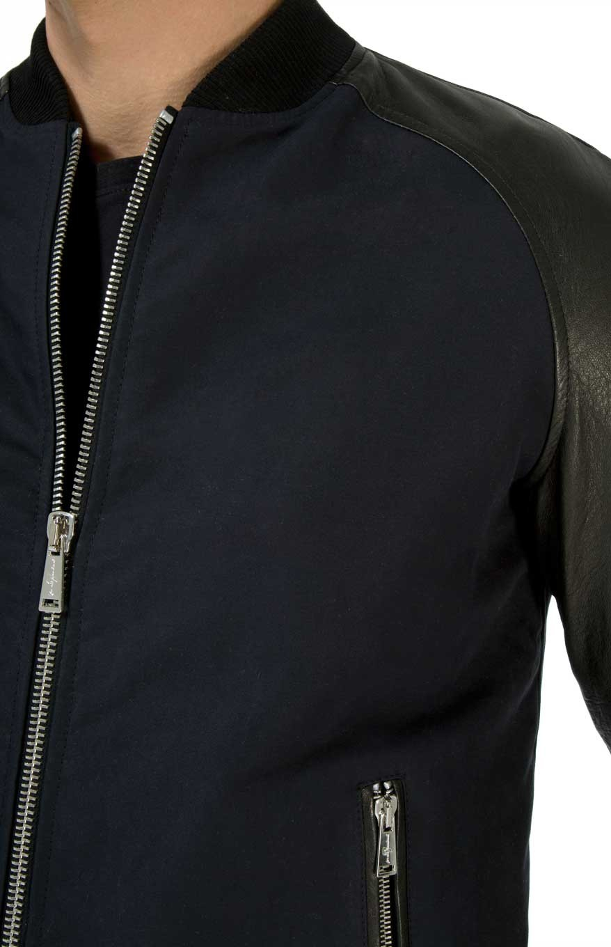7 For All Mankind Bomber Jacket With Leather Sleeves in Navy (Blue) for Men