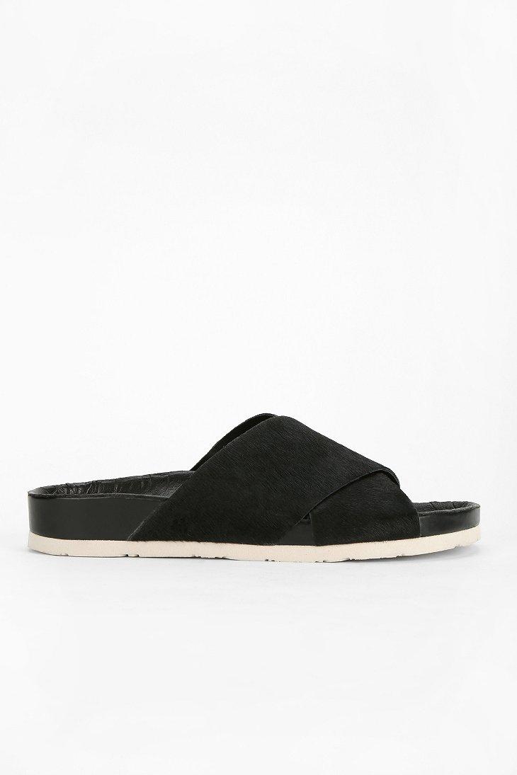 0fca2dba1cf4a6 Lyst - Sam Edelman Adora Pony Hair Slide Sandal in Black