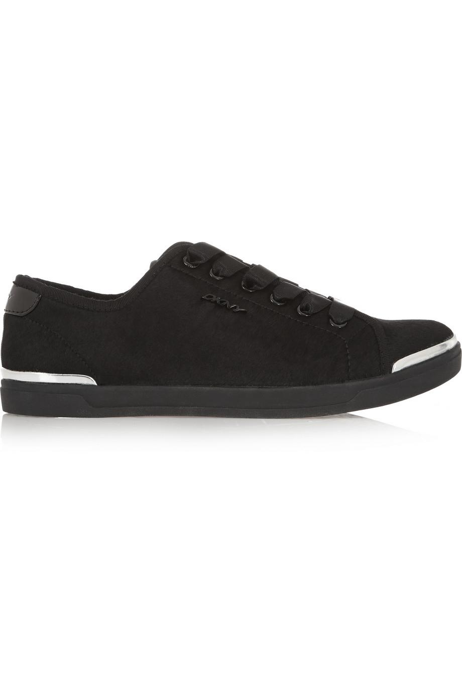 DKNY Bronwyn Calf Hair Sneakers in Black